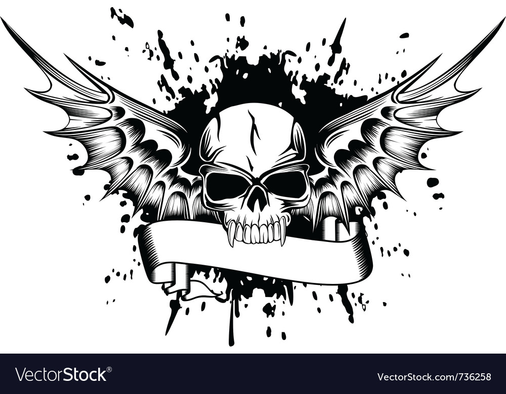 Skull with wings 2 vector   Price: 1 Credit (USD $1)