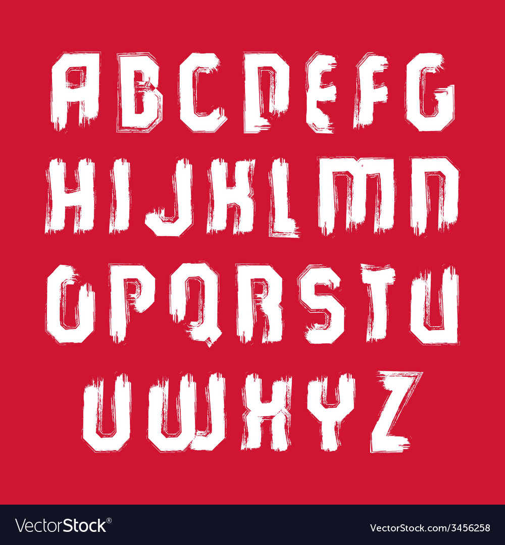 White hand-painted capital letters isolated on red vector | Price: 1 Credit (USD $1)