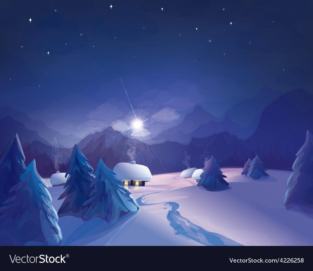 Winter night vector | Price: 3 Credit (USD $3)