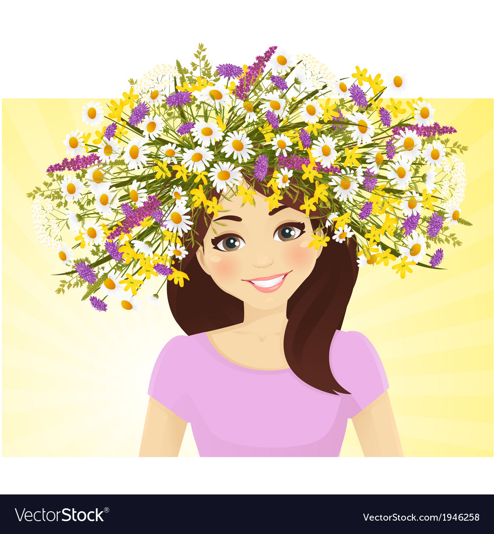Woman in wreath vector | Price: 1 Credit (USD $1)