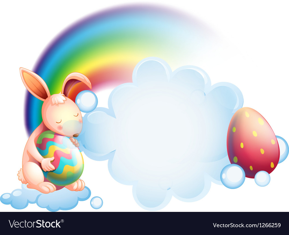A bunny holding an egg while sleeping in front of vector | Price: 1 Credit (USD $1)