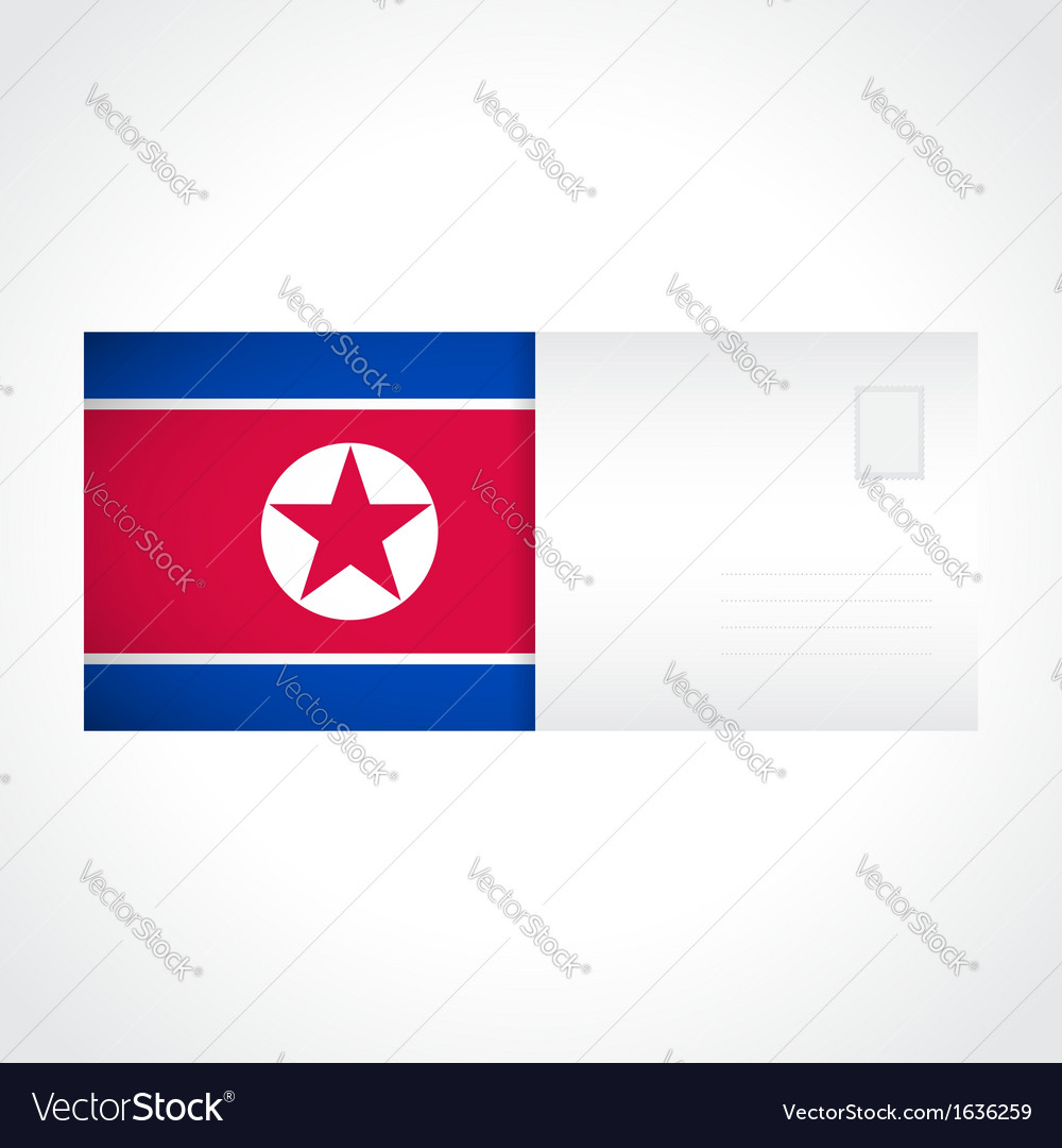Envelope with flag of north korea card vector | Price: 1 Credit (USD $1)