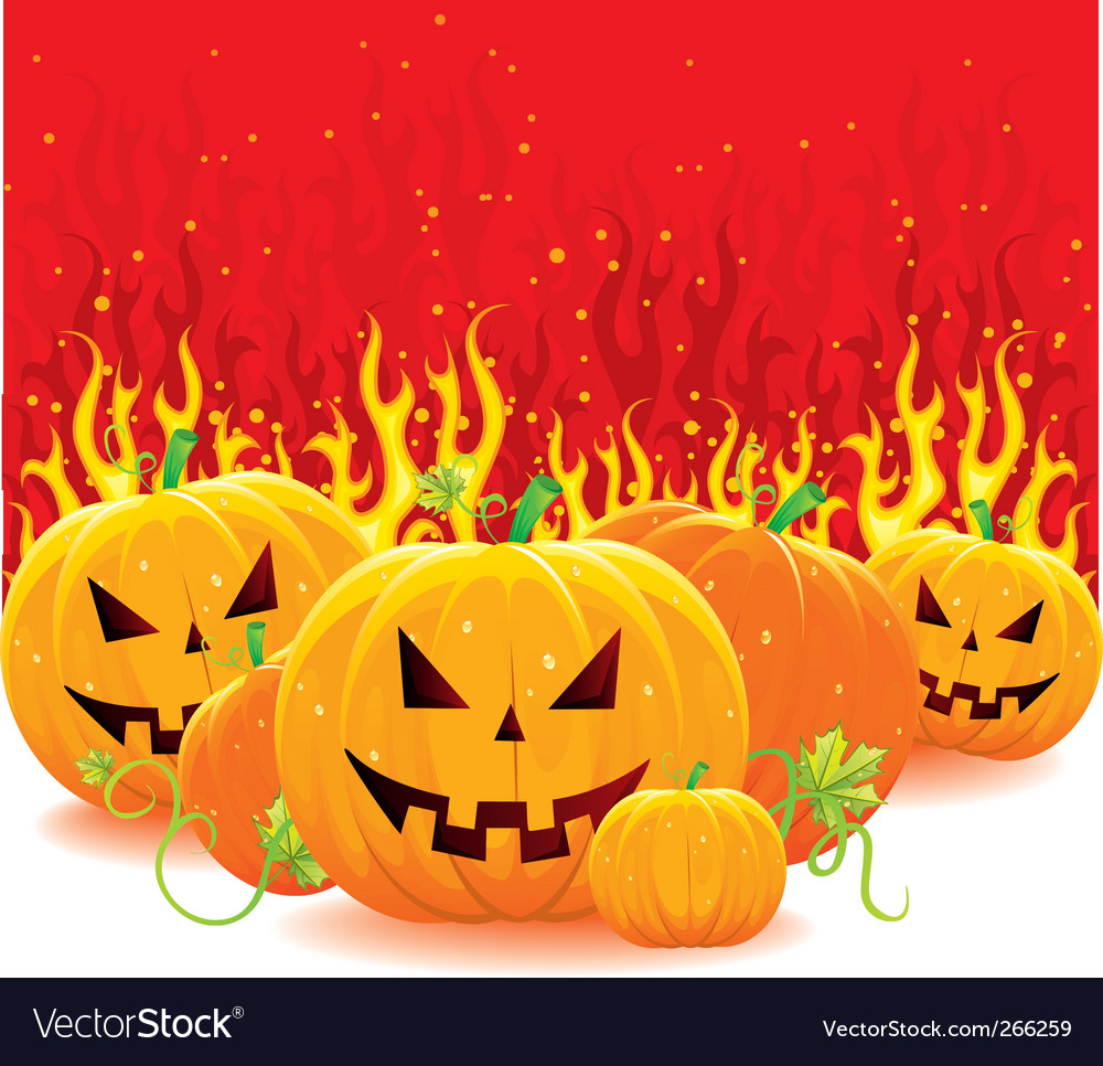 Fire with pumpkins vector | Price: 3 Credit (USD $3)
