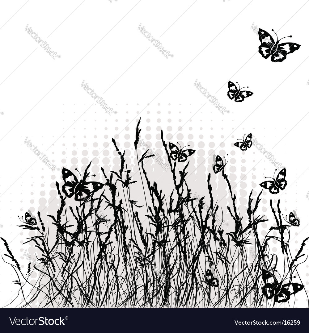 Grass silhouette black summer background vector | Price: 1 Credit (USD $1)