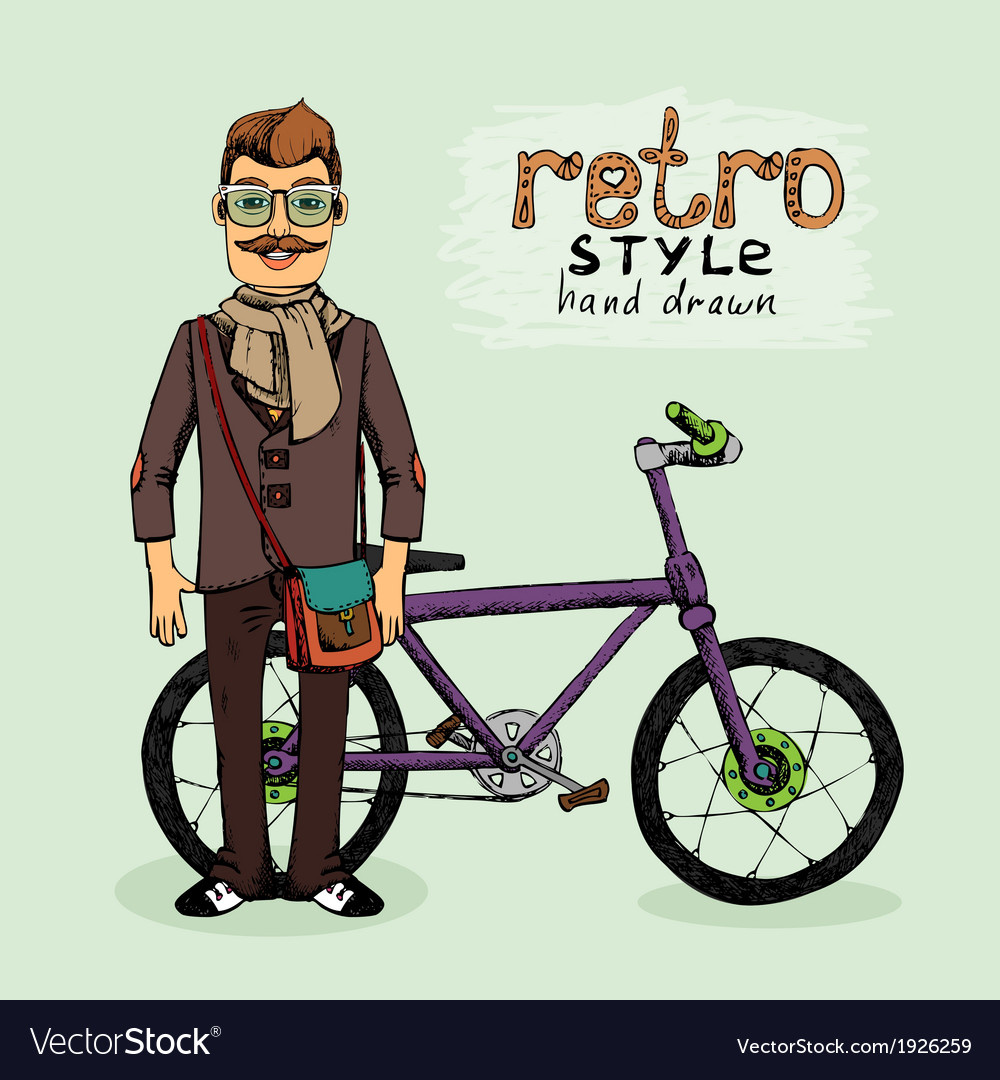 Hipster with bike vector | Price: 1 Credit (USD $1)