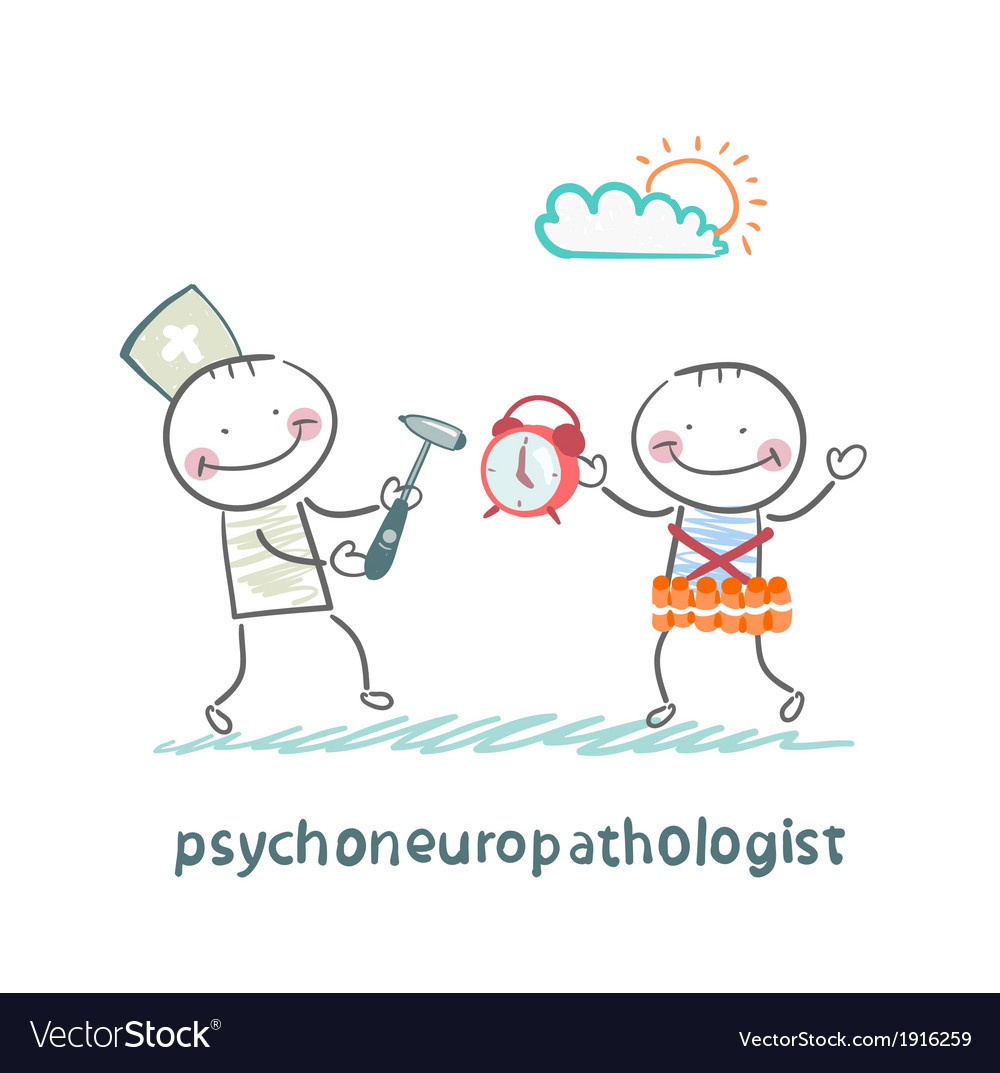 Psychoneuropathologist stands next to a man with a vector | Price: 1 Credit (USD $1)