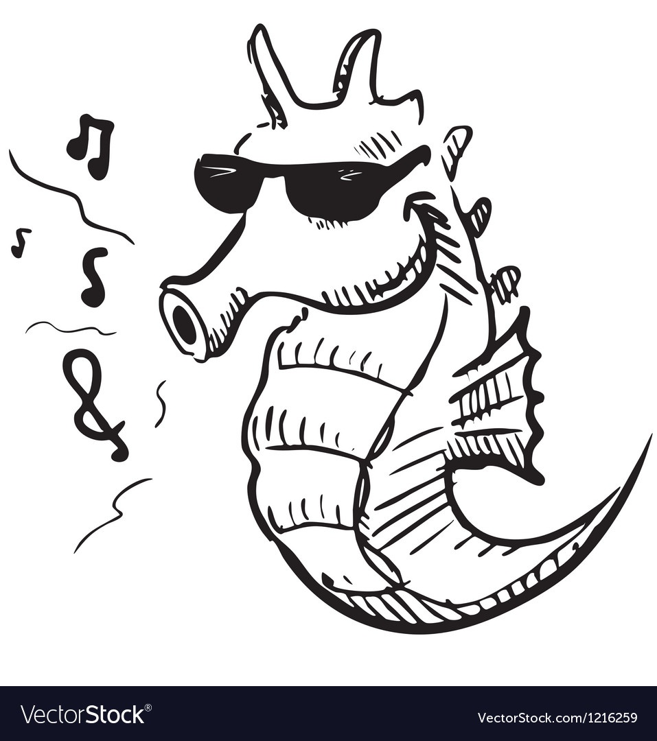 Seahorse in sunglasses whistling music vector | Price: 1 Credit (USD $1)