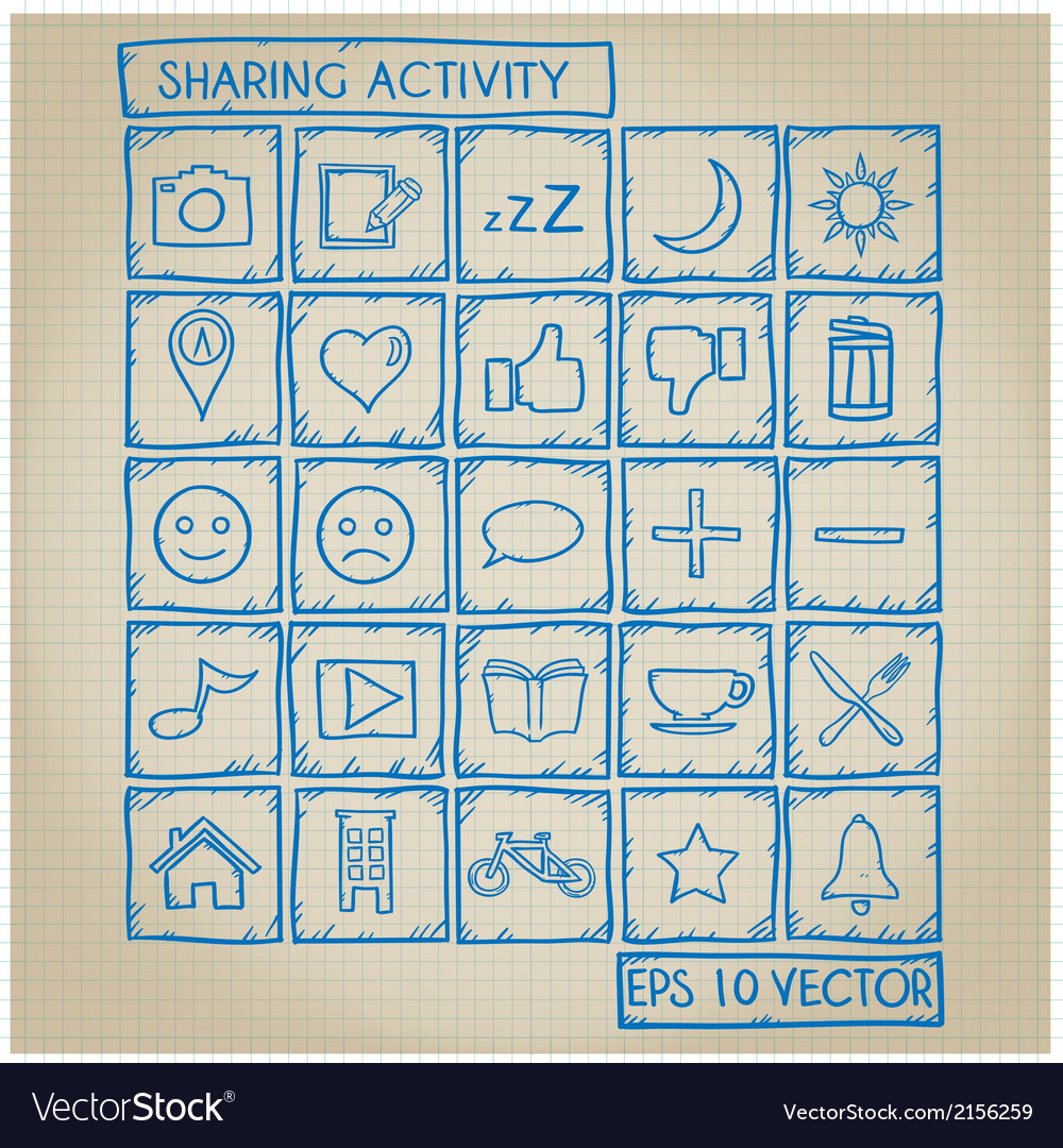 Sharing activity icon doodle set vector | Price: 1 Credit (USD $1)