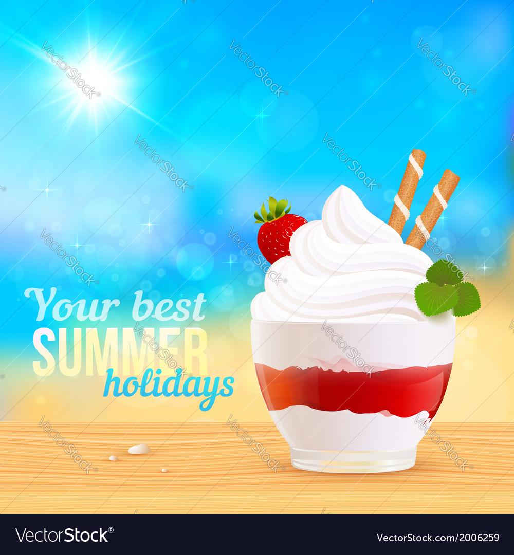 Soft creamy ice-cream dessert on sunny beach vector | Price: 1 Credit (USD $1)