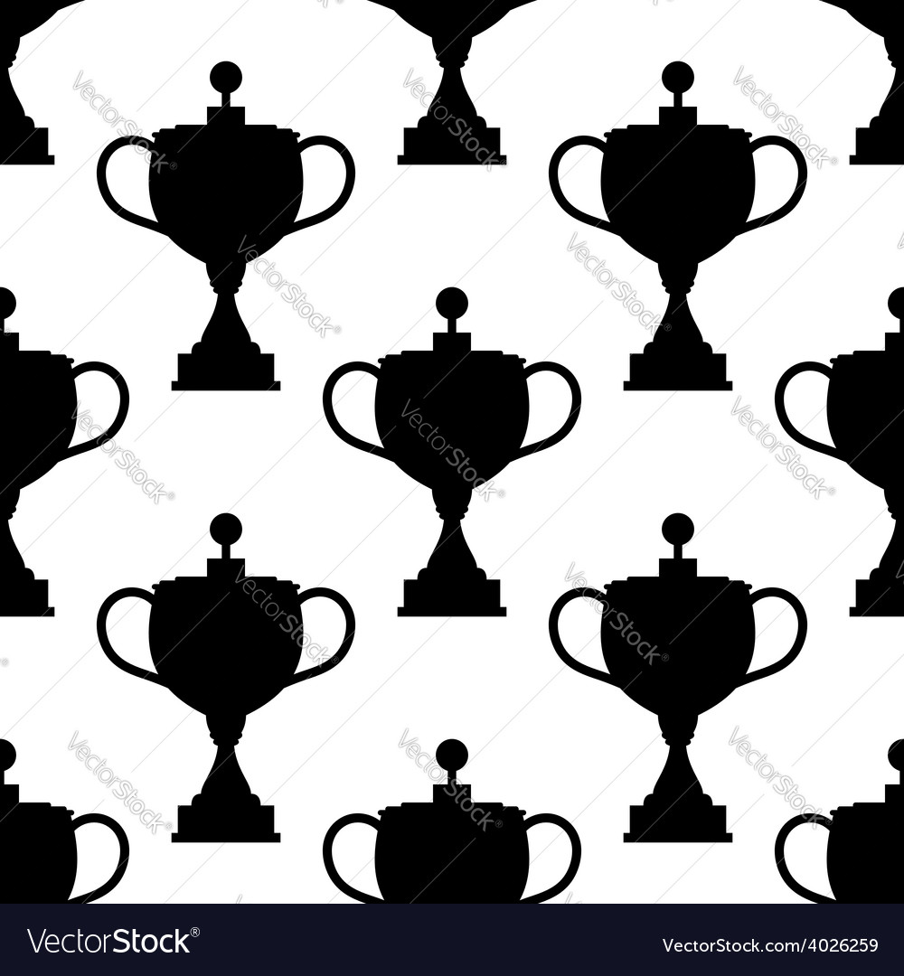 Vintage trophy cups seamless pattern vector | Price: 1 Credit (USD $1)