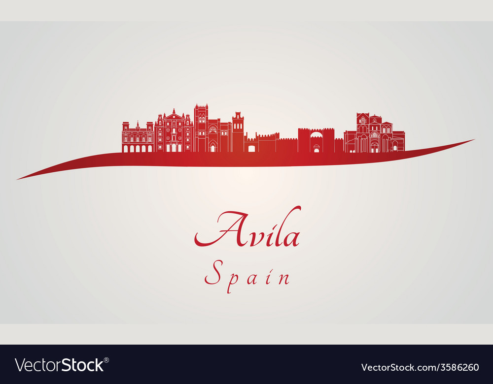 Avila skyline in red vector | Price: 1 Credit (USD $1)
