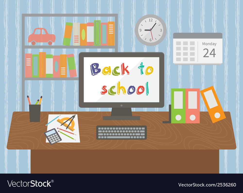 Back to school pupil room interior vector | Price: 1 Credit (USD $1)