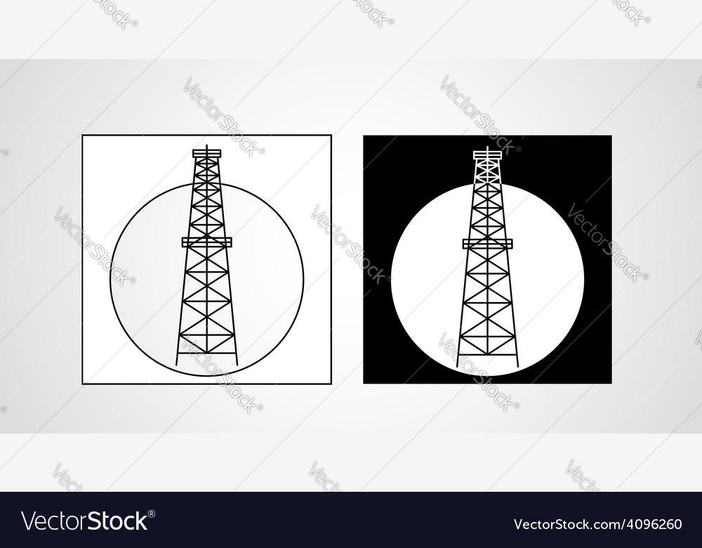 Black and white oil rigs vector | Price: 1 Credit (USD $1)