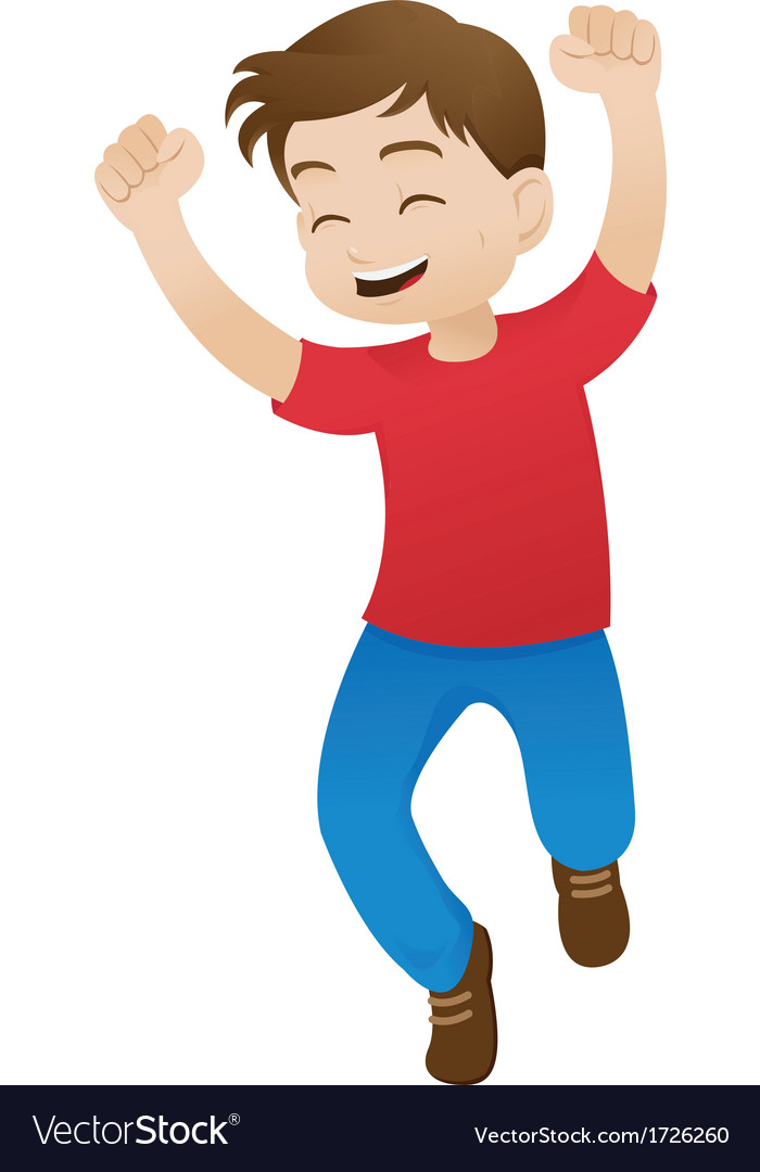 Boy jumping for joy vector | Price: 1 Credit (USD $1)