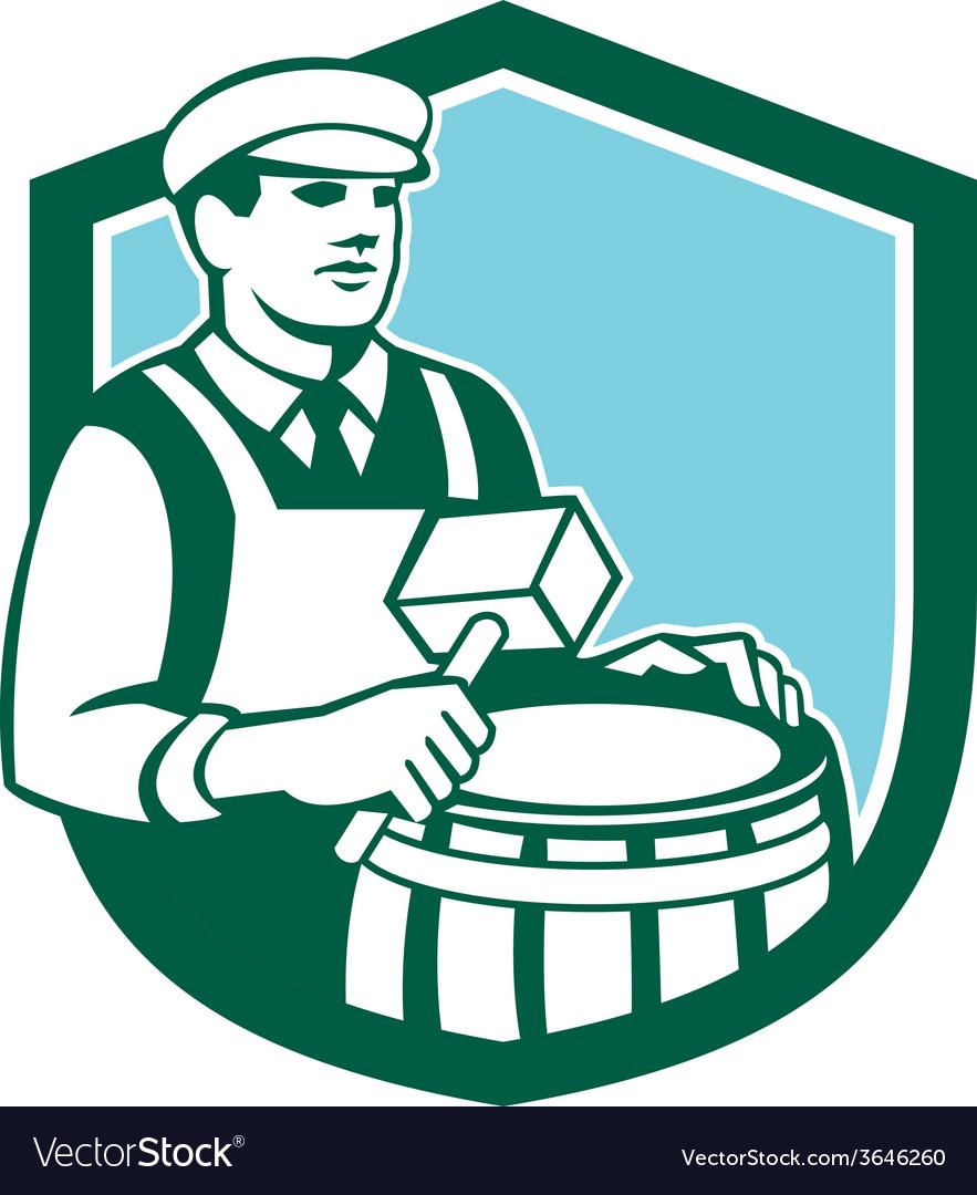 Cooper barrel maker drum retro shield vector | Price: 1 Credit (USD $1)