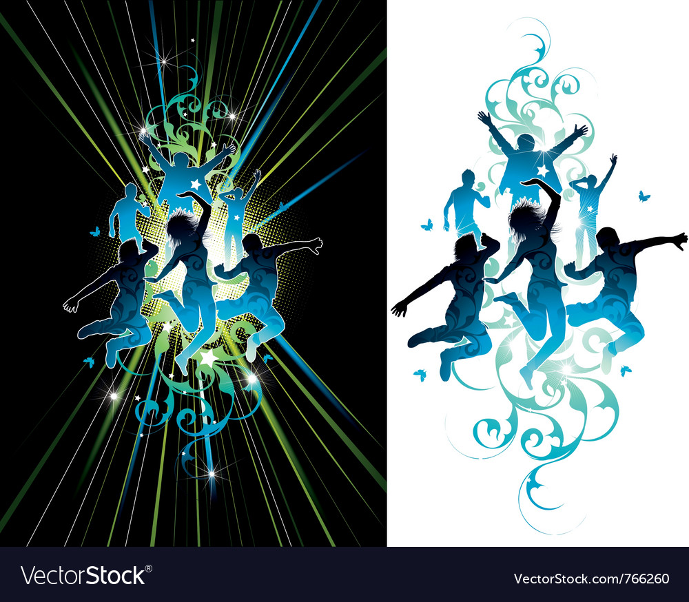 Dark and light jumping people vector | Price: 1 Credit (USD $1)