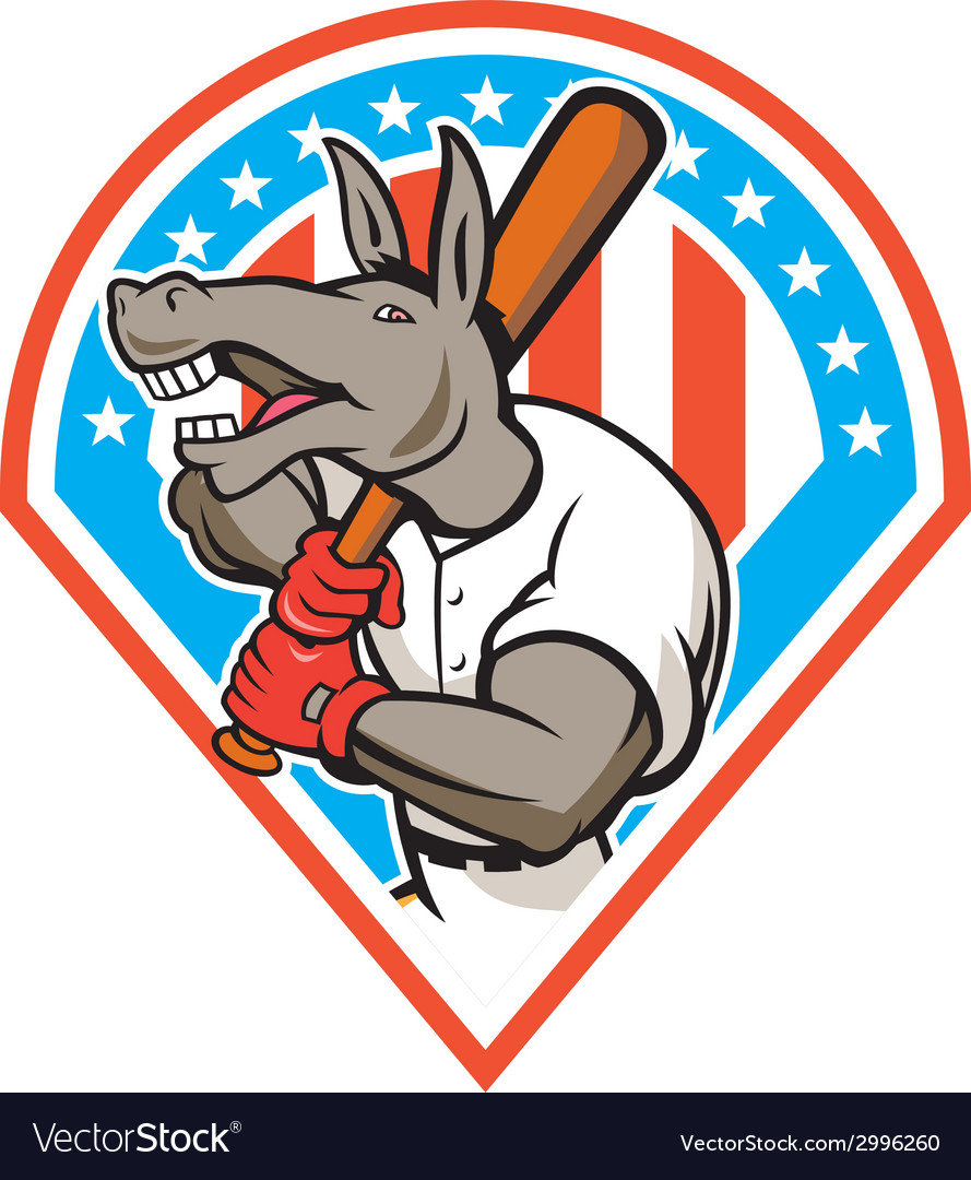 Donkey baseball player batting diamond cartoon vector | Price: 1 Credit (USD $1)