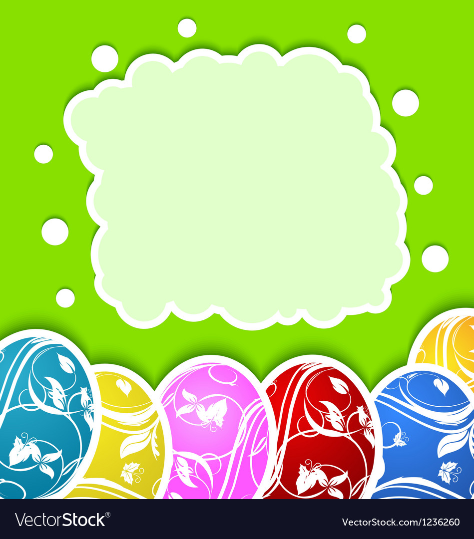 Easter card with set colorful ornate eggs vector | Price: 1 Credit (USD $1)