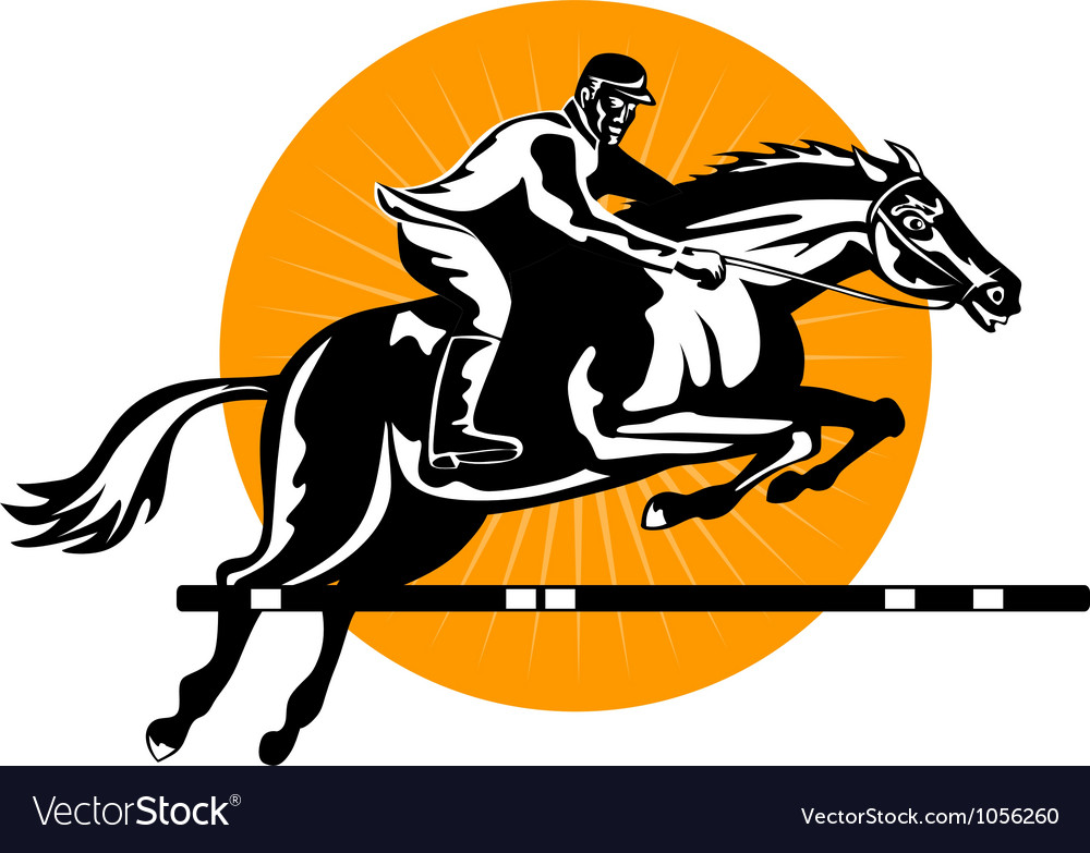 Equestrian show jumping retro vector | Price: 1 Credit (USD $1)