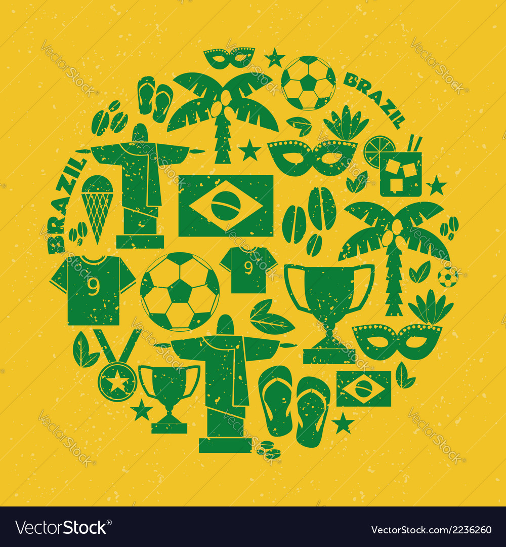 Flat design green and yellow brazil icons set vector | Price: 1 Credit (USD $1)