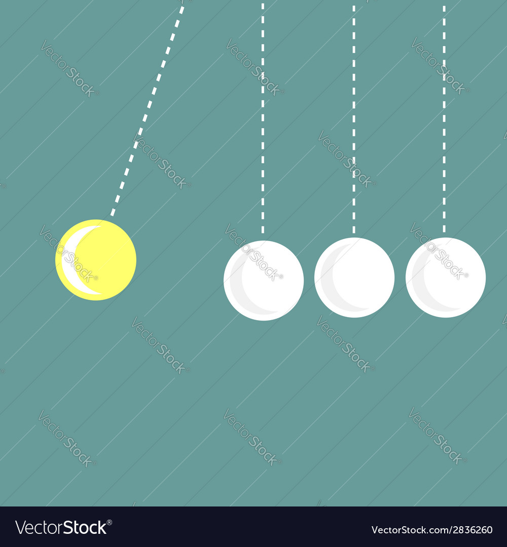Four hanging round balls white perpetual motion vector | Price: 1 Credit (USD $1)