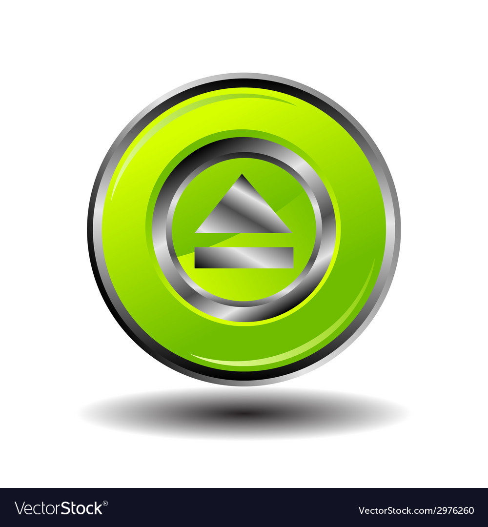 Green glossy round button web eject icon vector | Price: 1 Credit (USD $1)
