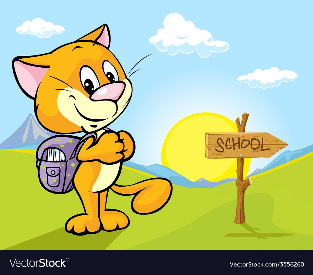 Landscape with cat and directional signs - the way vector   Price: 1 Credit (USD $1)