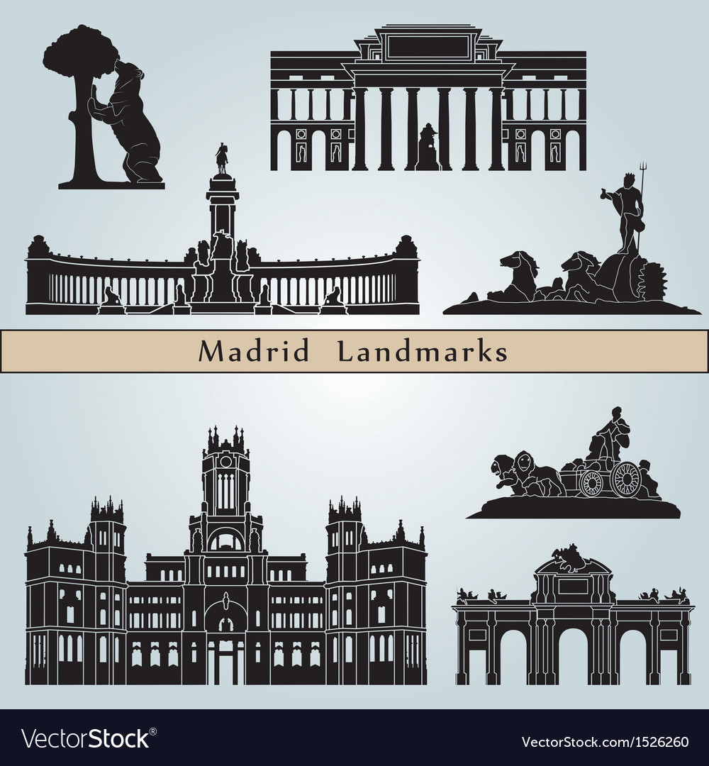 Madrid landmarks and monuments vector | Price: 3 Credit (USD $3)