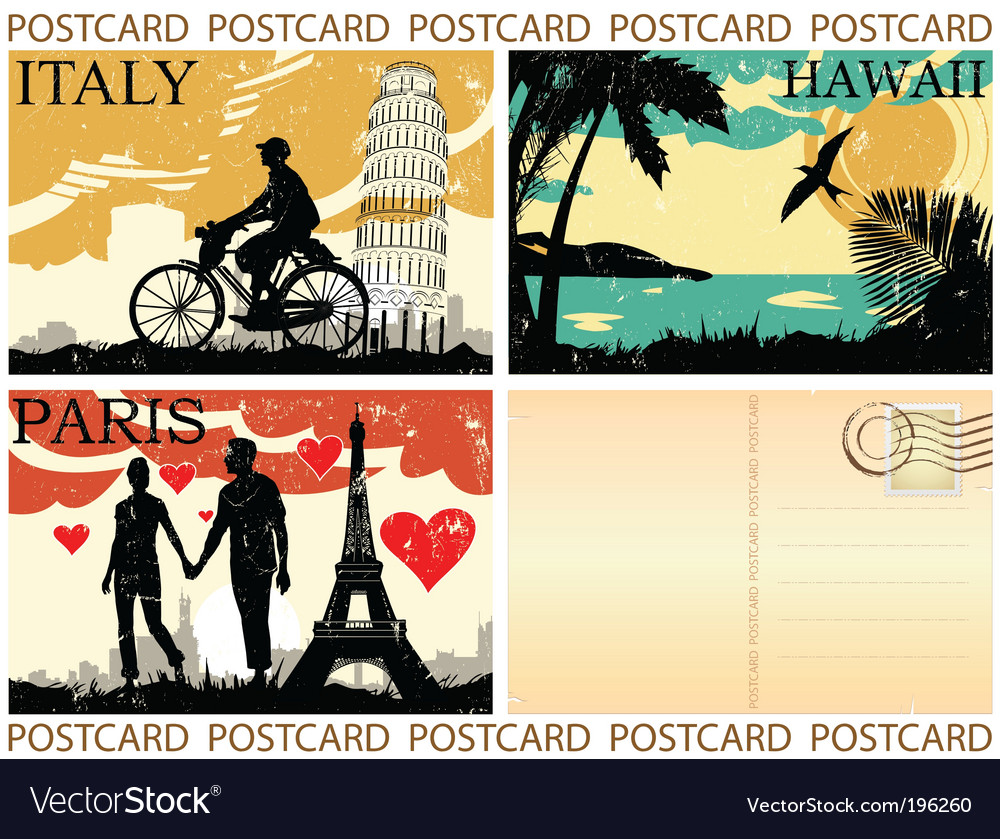Picture postcards set vector