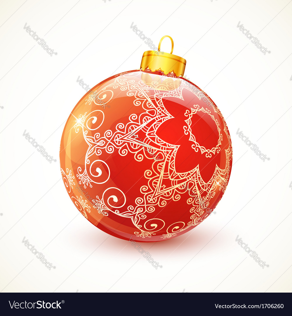 Red ornate shining christmas ball vector | Price: 1 Credit (USD $1)