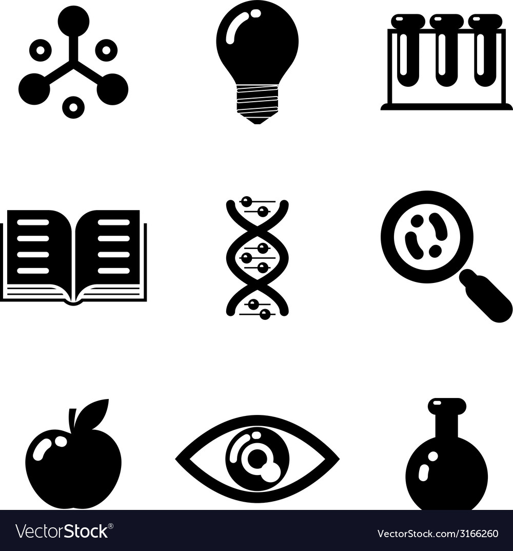 Science education research study web icons set vector | Price: 1 Credit (USD $1)