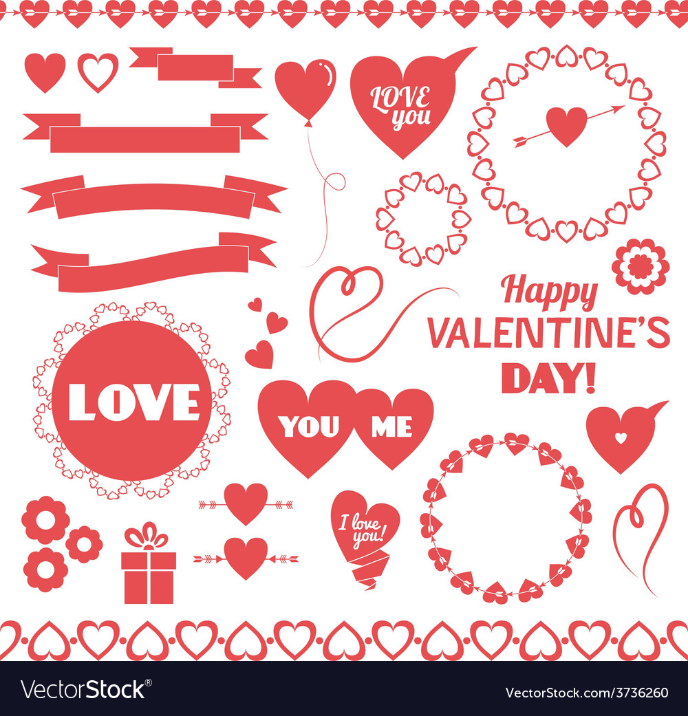 Set of elements for valentines day vector | Price: 1 Credit (USD $1)