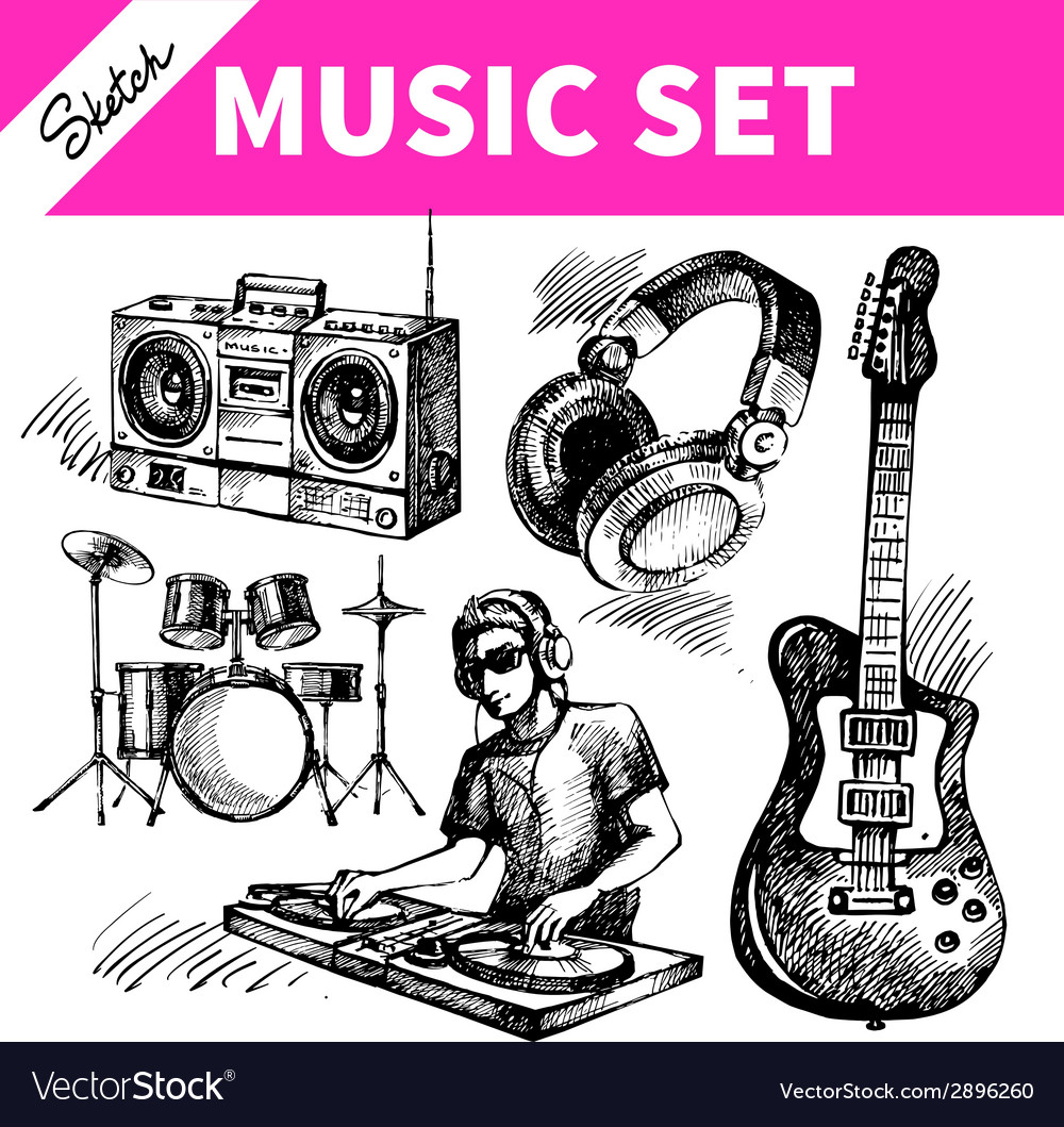 Sketch music set hand drawn of dj icons vector | Price: 1 Credit (USD $1)