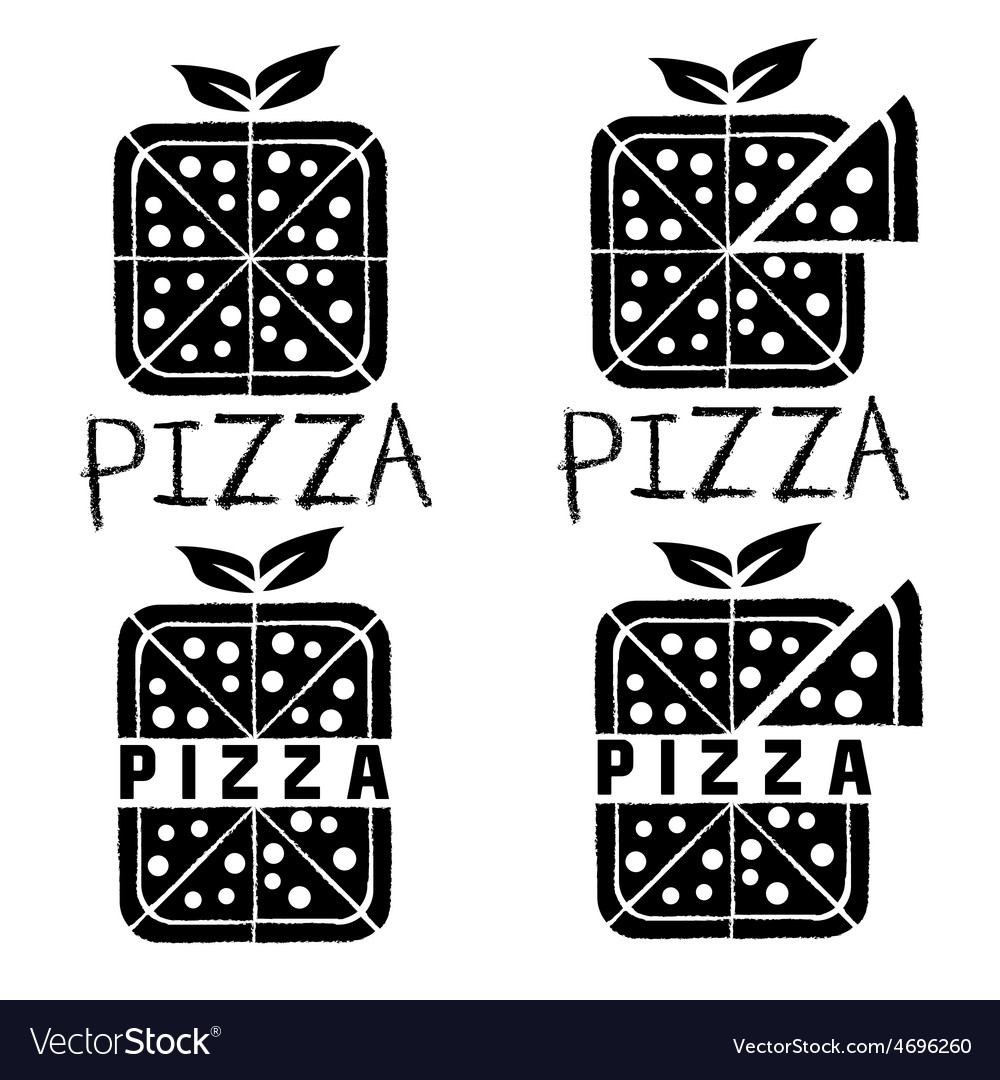 Square pizza set design template vector | Price: 1 Credit (USD $1)
