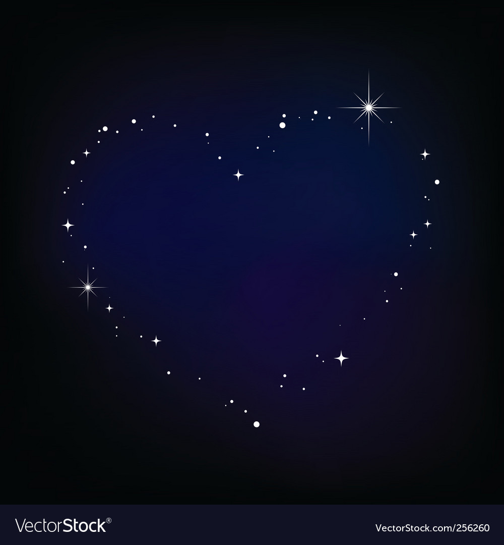 Star heart in night sky vector | Price: 1 Credit (USD $1)