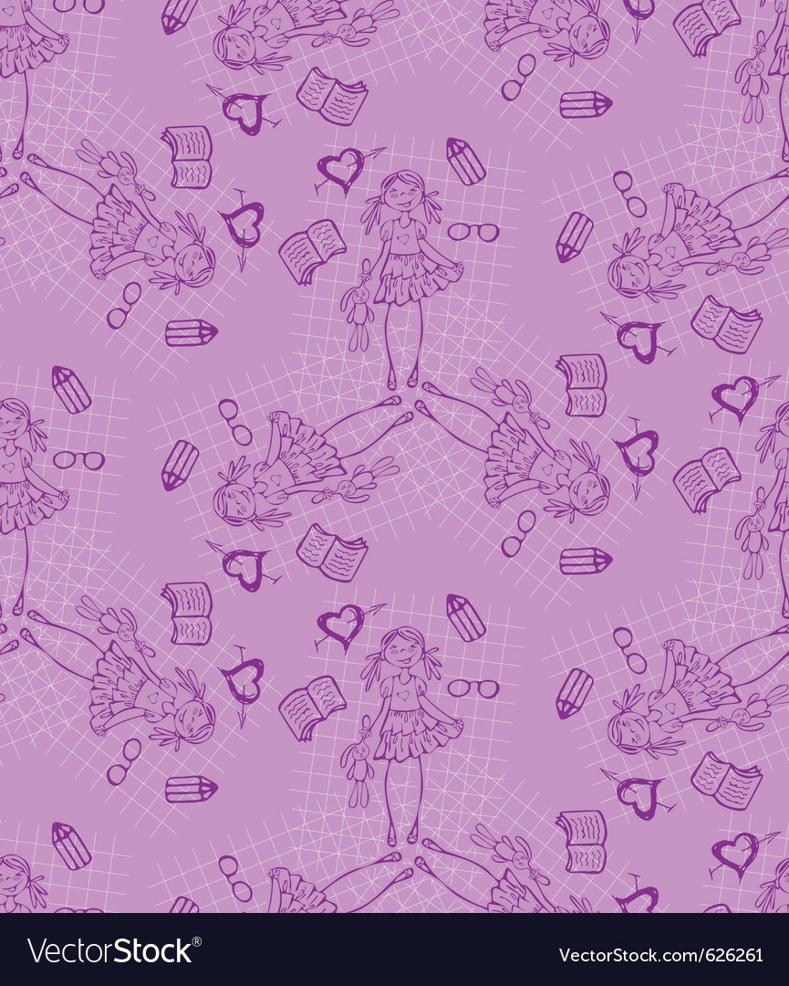 Baby girl cartoon seamless pattern glamour backgro vector | Price: 1 Credit (USD $1)