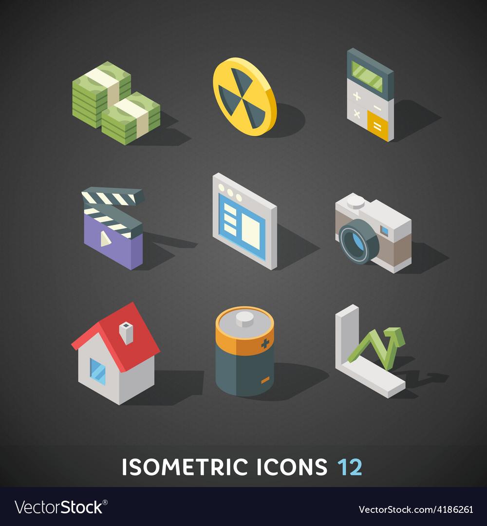 Flat isometric icons set 12 vector   Price: 1 Credit (USD $1)