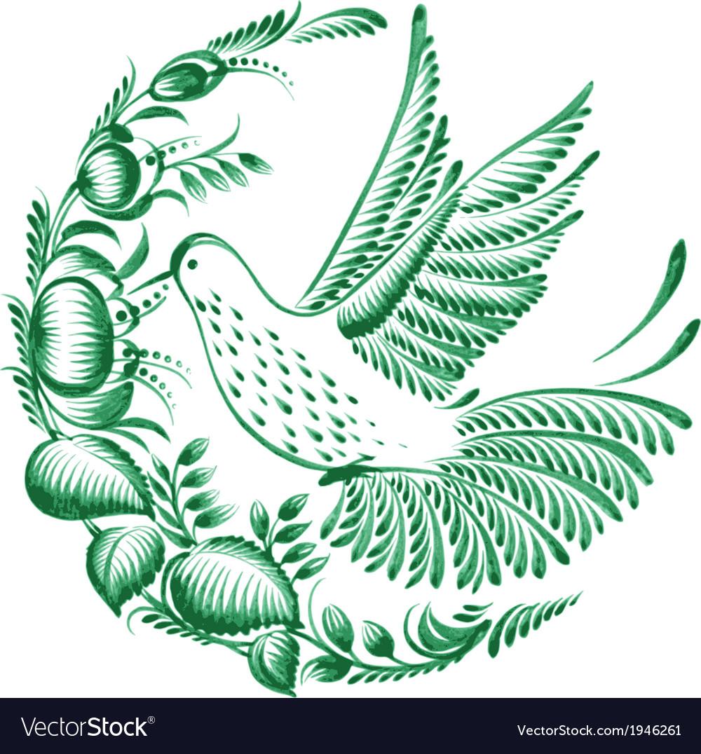 Floral decorative circle colibri vector | Price: 1 Credit (USD $1)