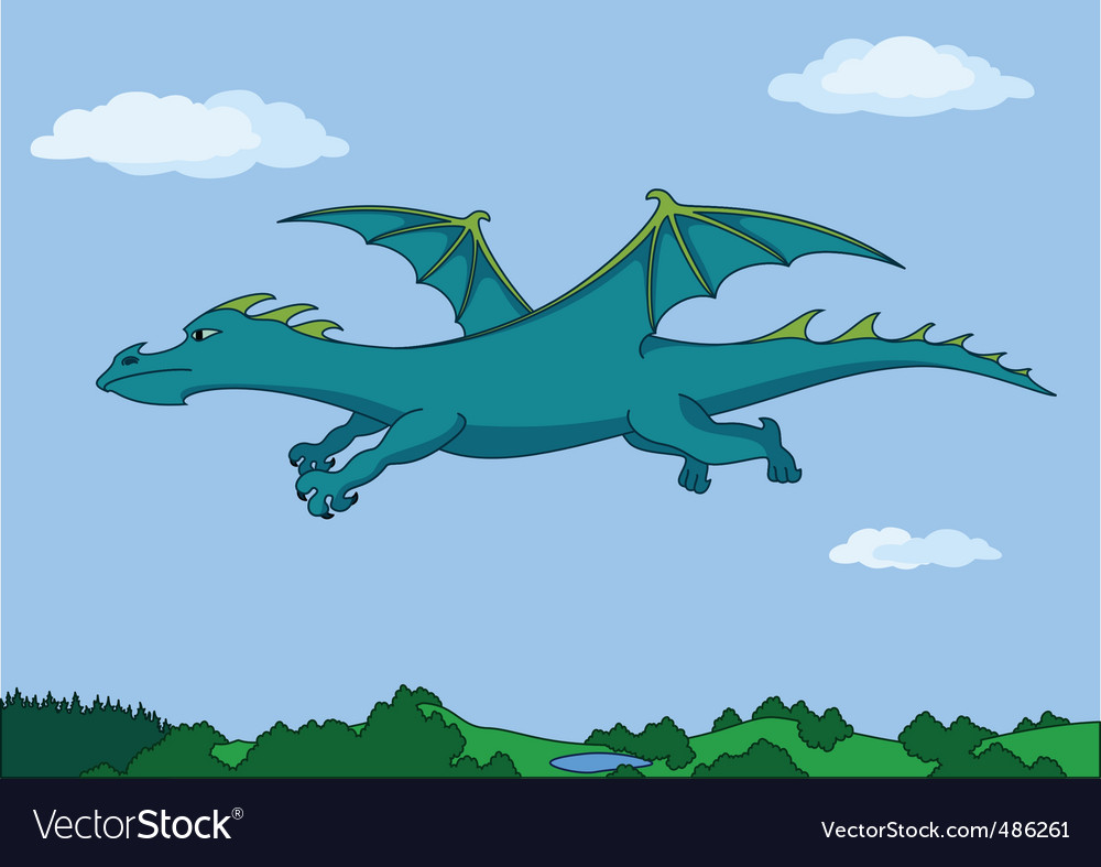 Green dragon in the sky vector   Price: 1 Credit (USD $1)