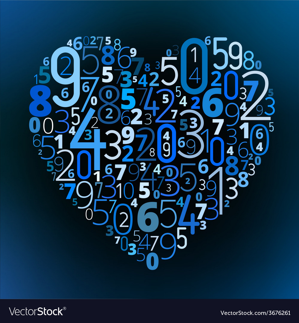 Heart font from numbers vector   Price: 1 Credit (USD $1)