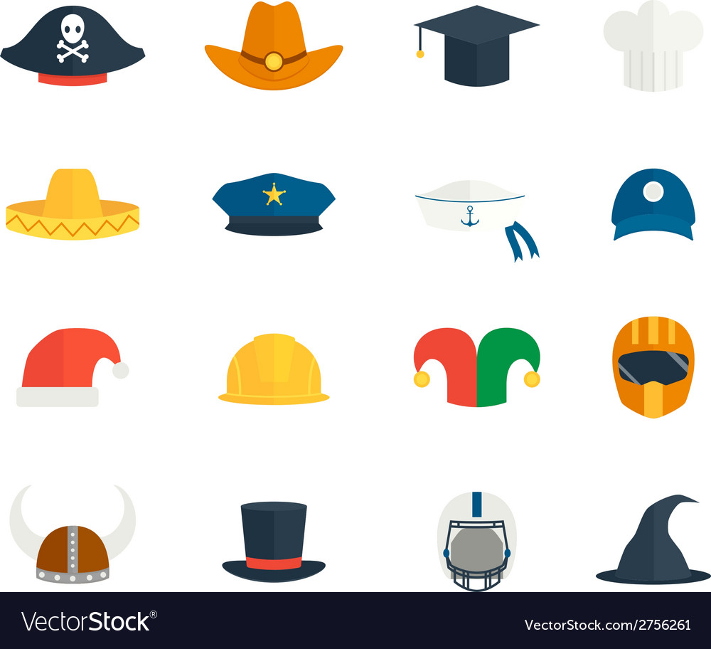 Icons hat set vector