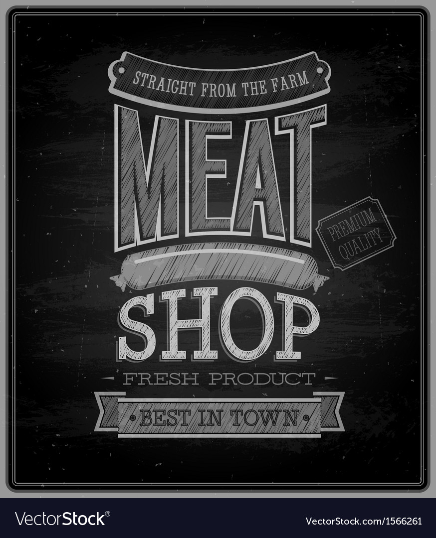 Meat shop chalkboard vector | Price: 1 Credit (USD $1)