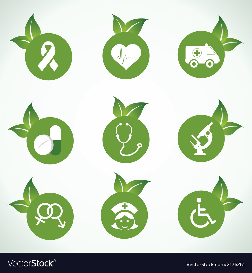 Medical icons and design with green leaf vector | Price: 1 Credit (USD $1)