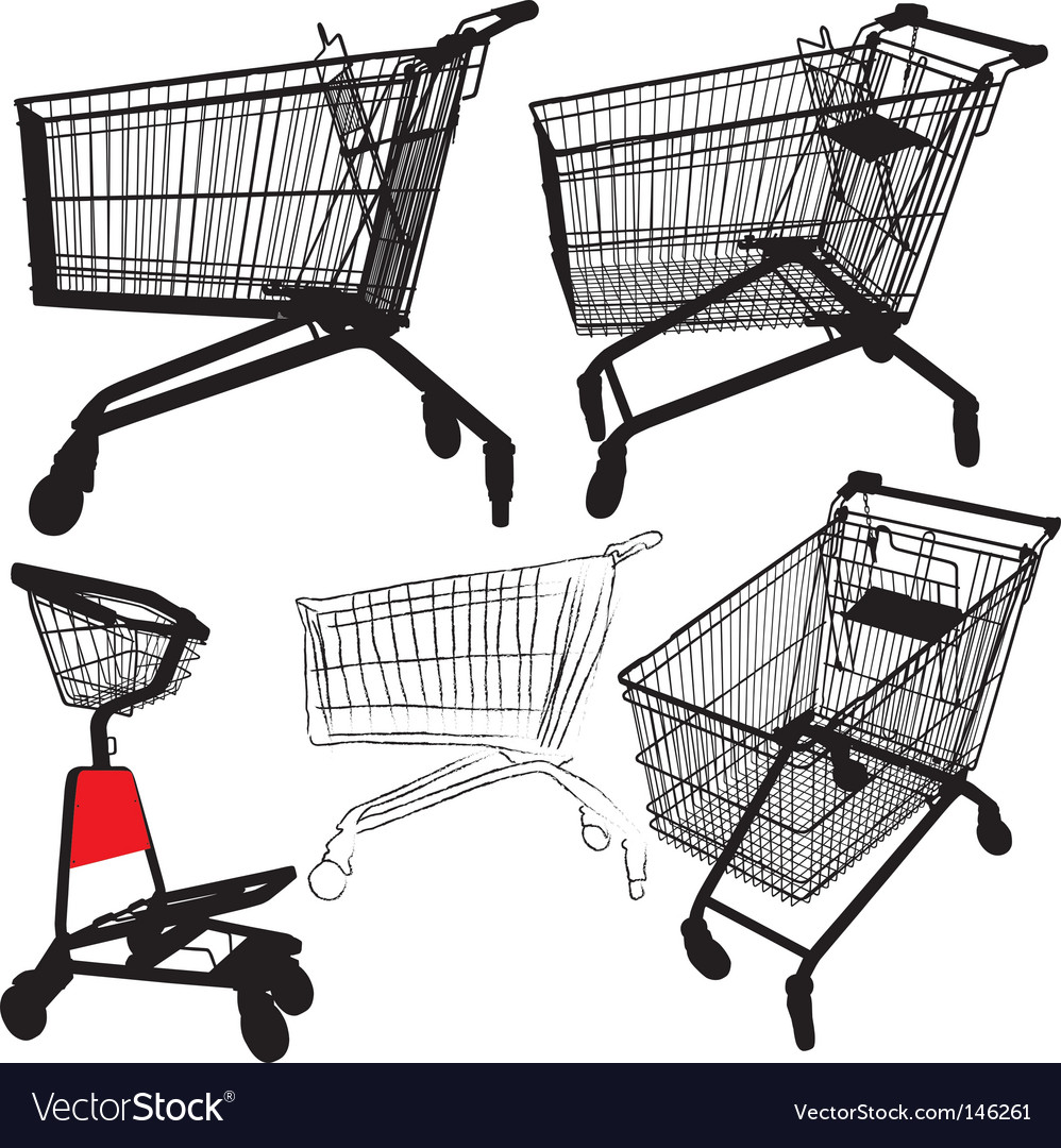 Shopping cart silhouettes vector