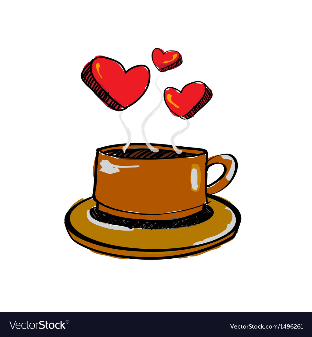 Sketch drawing love coffee vector | Price: 1 Credit (USD $1)