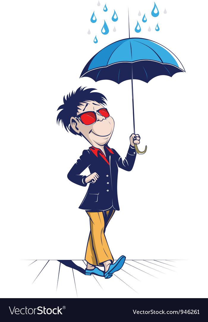 Umbrella man vector | Price: 5 Credit (USD $5)