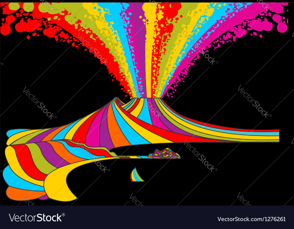 Vesuvius in rainbow vector | Price: 1 Credit (USD $1)