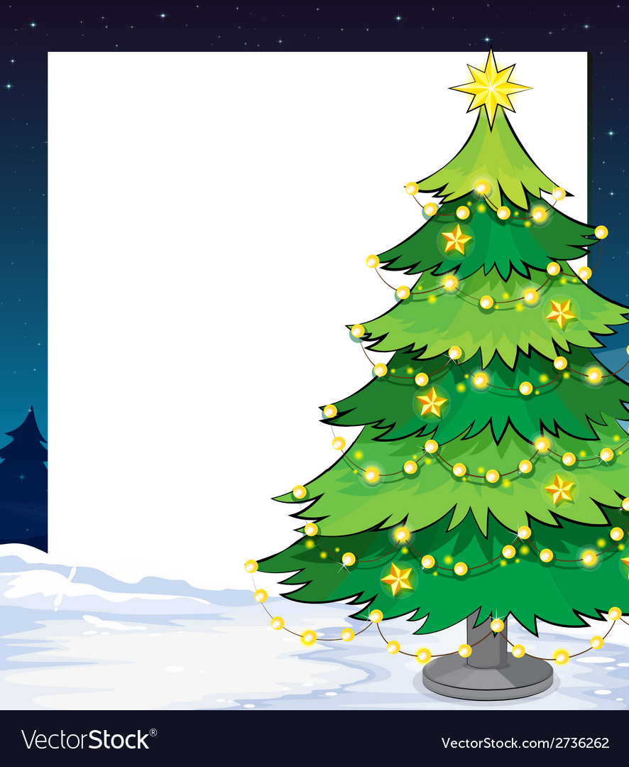 An empty christmas template with a christmas tree vector | Price: 1 Credit (USD $1)