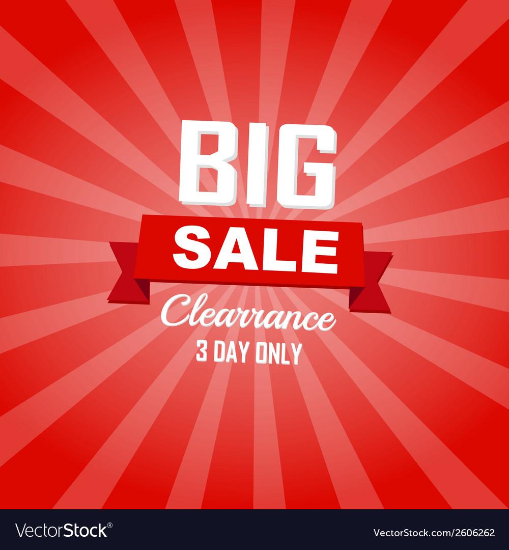 Big sale red color burst background vector
