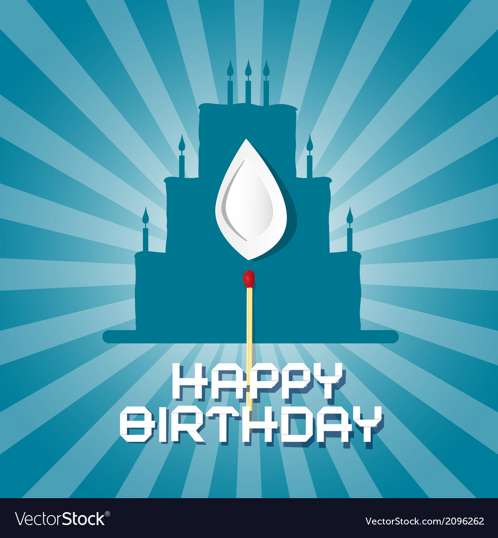 Blue birthday background with cake silhouett vector | Price: 1 Credit (USD $1)